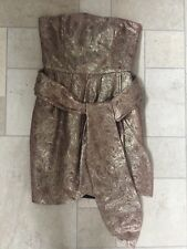 Mango MNG MOMENTS Gold Flora patterned Bandeau Strapless Dress W/sash Sz M 8 NEW