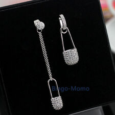 A Pair Unique Asymmetrical Silver Safety Pin Earrings Long Chain Dangle Earring