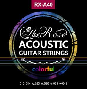 Bunte Gitarrensaiten - Stahlsaiten 6x - Colorful - The Rose - Akustikgitarre