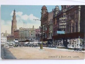 Vintage Postcard. Hopkins Cash Drapery Store, Duncan Street & Boar Lane, Leeds.