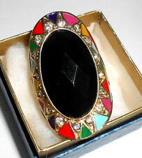 Large Oval Black Stone Onyx Ring Mexican Fiesta Crystals Gold Expandable 7-10