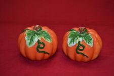 PUMPKIN SALT & PEPPER SHAKER SET  Ceramic Fall Autumn * FREE SHIP TO U.S.