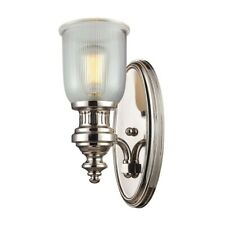 ELK Lighting Chadwick 1-Light Wall Lamp, Nickel/Clear Ribbed Glass - 66780-1