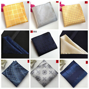 Pocket Square Hanky Silver Yellow Blue White Patterned Silk Handkerchief