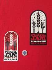 PEARL JAM - Lincoln NE T-SHIRT Size XL  Sticker and Pin - Oct 9 2014