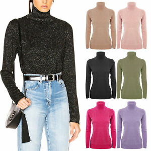 Maglione donna lurex pullover glitter collo alto lupetto TOOCOOL ANN001