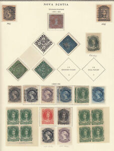 NOVA SCOTIA 1851-63 ISSUES ON OLD ALBUM PAGE INCL. 1851-57 1p red 3p dark blue 8