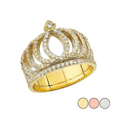 Solid Gold Cubic Zirconia Royal Crown Ring (Yellow /White/Rose)