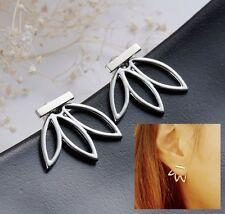 Leaf Bar Ear Jackets Earrings Anthropologie Urban Trend Minimal Silver Flower
