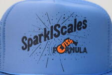 Vtg SPARKL SCALES  Fish Formula Blue Mesh Snap Back Trucker Hat Fishing Boat Cap