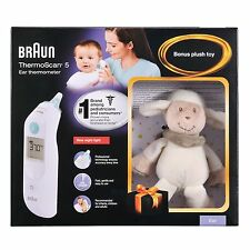 BRAUN THERMOSCAN 5 IRT 6030 EAR THERMOMETER WITH BONUS LAMB PLUSH TOY