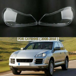 Left Right Headlight Lens Transparent Cover Shell For Porsche Cayenne 2008-2010
