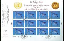 UNITED NATIONS 2001 KOFI ANNAN NOBEL PEACE PRIZE SHEETS & TRIPLE CANCEL FDCS