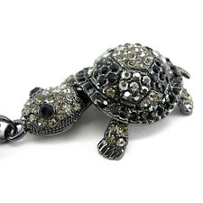 Super Lovely Black Tortoise Turtle Animal Czech Crystal Necklace