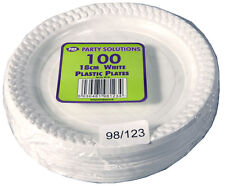 50 White Plastic Plates Party Event Disposable Tableware Birthday Round 26cm