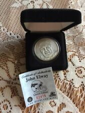 The Highland Mint NFL John Elway Collectors Coin Solid Brushed Nickel Ltd. Ed. #