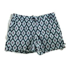 Crown and Ivy women's shorts size 8 print cotton stretch pink blue classic