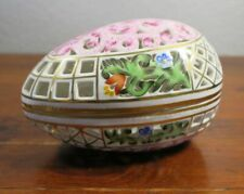 "Herend Pierced Floral Egg Box Giftware #6048 4.5"" Long. 3B"