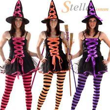 Ladies Witch Halloween Horror Fancy Dress Costume & Hat Size 10-14