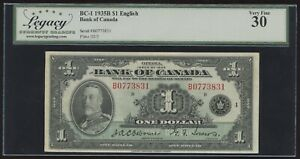 1935 Bank of Canada $1 - Legacy Very Fine 30 - S/N: B0773831/D - Canada's First