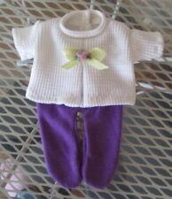 New Handmade Repro Of Diaper Shirt & Purple Tights For Newborn Thumbelina