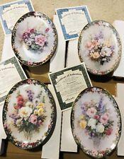 Retired Lena Liu Floral Cameos Oval Porcelain Plates - Bradford Exchange