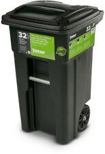 Trash Can Wheeled Cart Garbage Bin Container Outdoor Heavy Duty 32 Gallon Wheels