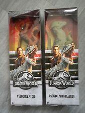 """2x Jurassic World Fallen Kingdom 12"""" Figures, Velociraptor & Pachy Mattel Park"""