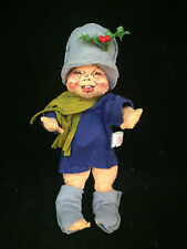 """Annalee Christmas Boy Holly Hat & Green Scarf 7-1/2"""" Tall New!"""