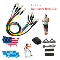 11 PC Resistance Bands Set Heavy Workout Exercise Yoga Crossfit Fitness Tubes US