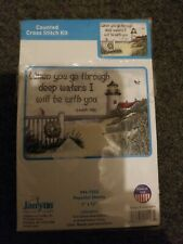 Janlynn Peaceful Shores Counted Cross Stitch Bible Verse Isaiah 43:2 lighthouse