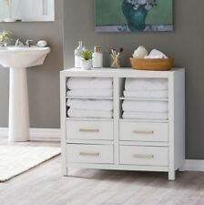 Bathroom Floor Cabinet Linen Storage Chest With Drawers Shelves Wood White Bath