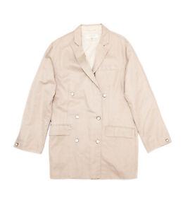 Rag & Bone Cotton Linen Oversized Double Breasted Beige Blazer Jacket Coat - 8