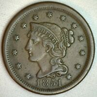 1851 Braided Hair Large Cent Copper US Type Coin Extra FINE 1c XF Penny M3