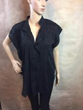 Zara Black Blouse With Patterned Front Size Medium B10 Ref 3658 022