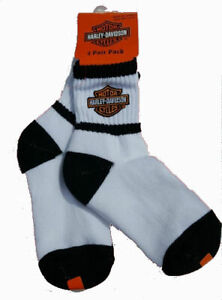 Harley Davidson Boys Kids Logo Socks - Sock size 6-8.5, Shoe Size 6-11, 2 Pair