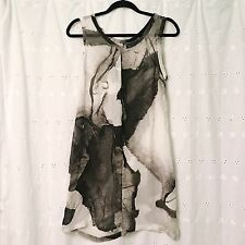 Ann Demeulemeester Silk Black White Watercolor Printed Tunic Dress Size 42 US M