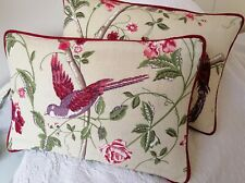 "Reversible 12"" X 18"" laura Ashley Summer Palace Cranberry Cushion Cover Piped"