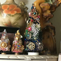 BOTTLE BRUSH TREE CHRISTMAS ENCRUSTED VINTAGE JEWELRY AND MERCURY GLASS  13""