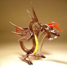 "Blown Glass Figurine ""Murano"" Art Purple, Red and Yellow Spiked DRAGON"