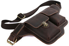Genuine Leather Brown Vintage Fanny Waist Packs Bag Wallet Purse Passport TIDING