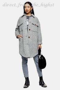 Topshop  Grey Marl Brushed Shacket UK Sizes 4_6_8_10_12_14_16