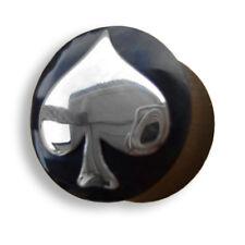 6mm - 22mm HORN SILBER Pik As ACE OF SPADES Tunnel Ear Plug Ohr Piercing 065