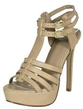PADO Delicious Women's Ankle Strap Woven T-Strap Platform High Heel Sandals