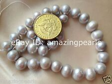 12-14mm Silver Gray(Grey) Round Freshwater Pearls Loose Beads 0.7mm Hole Size