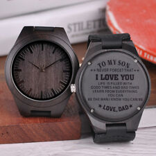 ENGRAVED WATCH WOODEN PERSONALISED BOBO BIRD BAMBOO OFFICIAL DESIGNER LEATHER