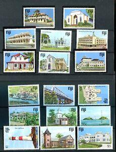 Fiji QEII 1979 Architecture set of 18 (no imprint) SG580A/95cA MNH