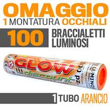 100 BRACCIALETTI LUMINOSI ARANCIONE fluo DJ starlight dj strobo BRACCIALI LUCE