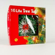 Vintage 16 Lite Tinsel Poinsettia Wreath Christmas Tree Topper In Box Tested Ul
