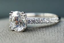 Proposal Wedding Ring Engagement 2.42 CT 14k White Real Solid Gold Split Prongs